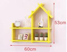 Solid wood shelf on the wall.. Hanging bookcase bedroom walls. Decorative frame
