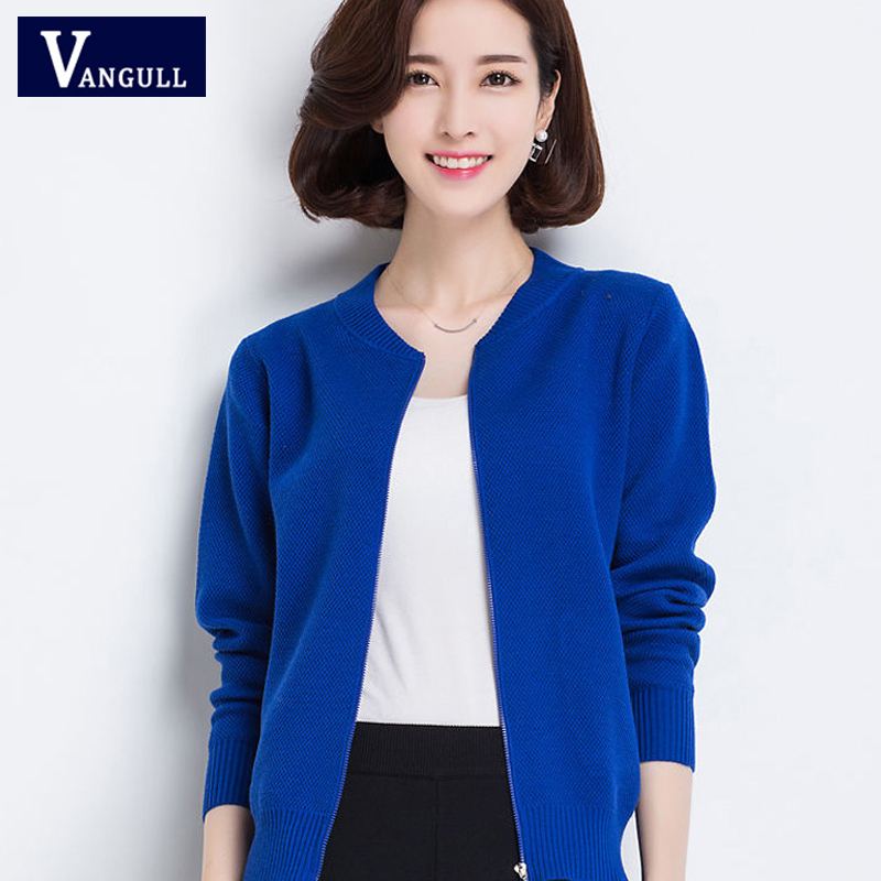 VANGULL 2019 Autumn Winter New Casual Women Knitting Sweater Cardigans Zipper Solid O-neck Long Sleeve Short Sweater Outerwear