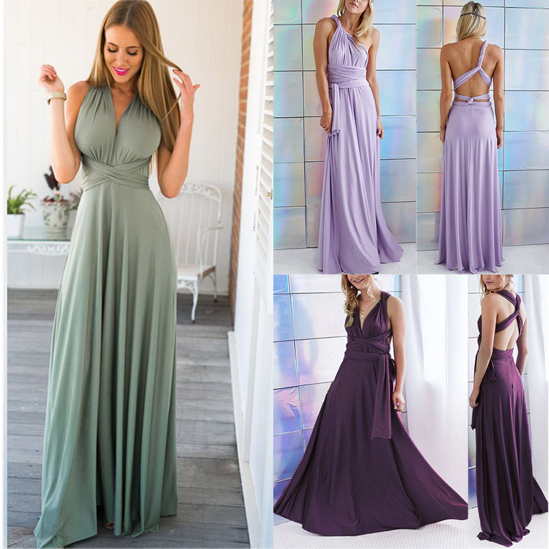 Summer Women Sexy Long Dresses Solid Color Changeable Crossed Bandage Backless Bridesmaid Ladies Formal Dress FS