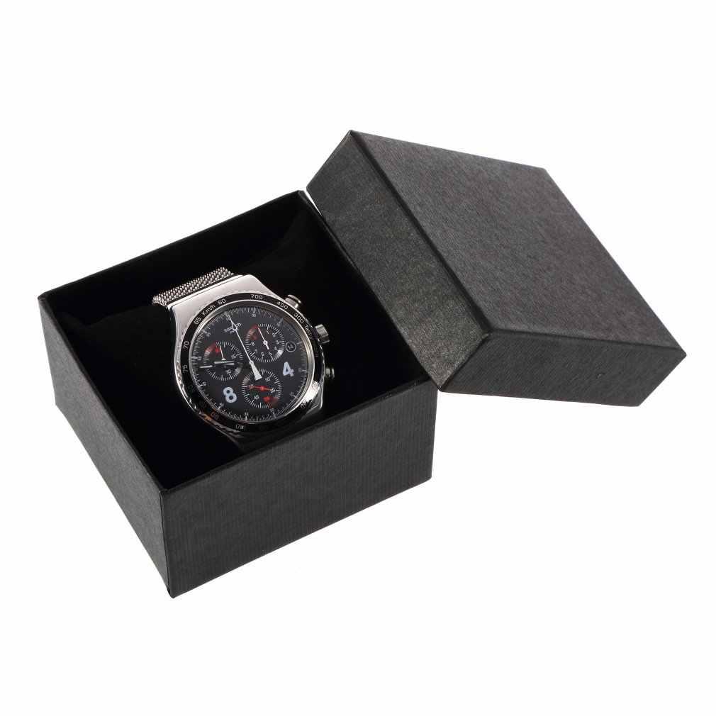 תכשיטי תיבת שעון מקרה תצוגת אריזה מחזיק עם קצף Pad בתוך הווה צמיד שחור כחול צבע לעסקים נשים מתנות