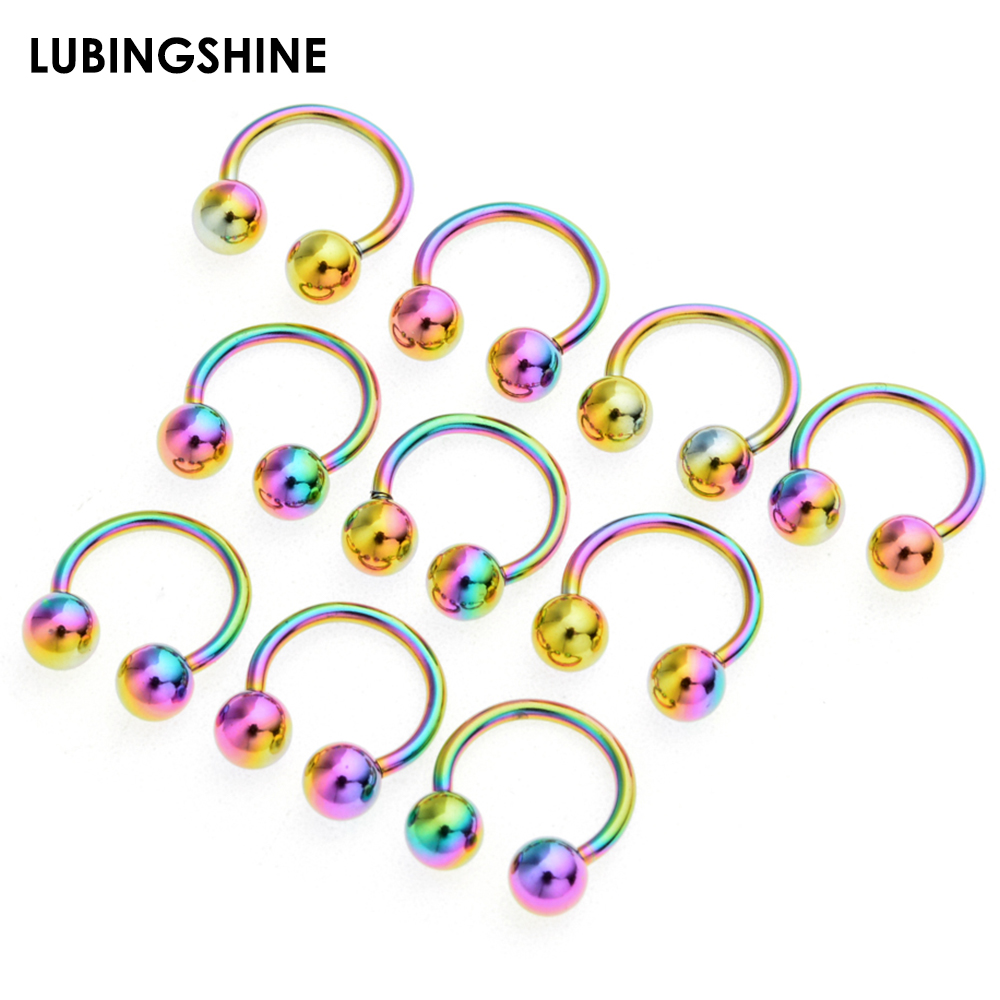 2//5//10Pc Captive Ear Cartilage Nose Lip Eyebrow Hoop Round Ring Piercing Jewelry