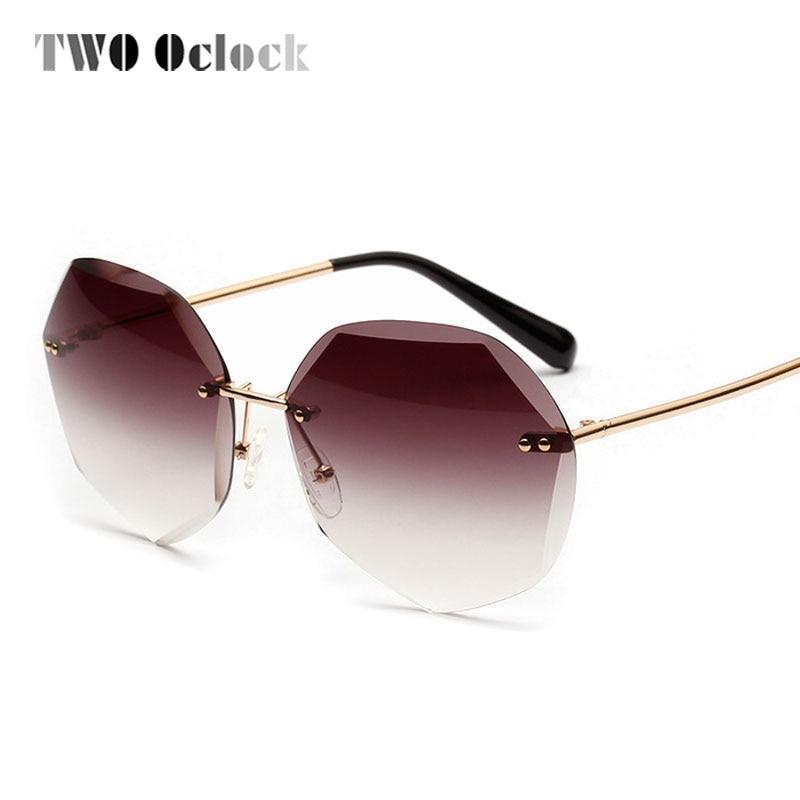 TWO Oclock Oversized Sunglasses Women Designer Brand Luxury Rimless Brown Gradient Sun Glasses UV400 Female Oculos de sol 881309