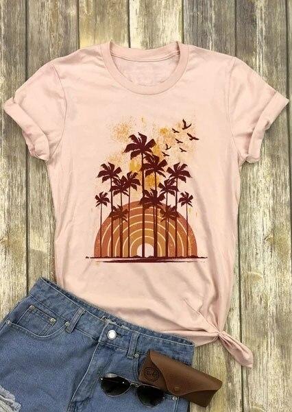 New Women T-Shirt Summer Short Sleeve t shirt Vintage Palm Tree O-Neck T-Shirt 2018 Casual Apricot Female t shirt Ladies Top Tee