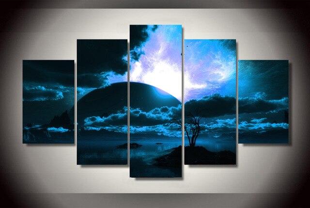 5 stuk canvas art horizon night spektakel schilderen canvas muur