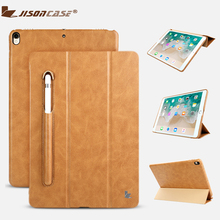 Купить с кэшбэком Jisoncase Leather Case For iPad Pro 10.5 Inch With Kickstand Pencil Slot Luxury Shockproof Folio Tablet cover For iPad Pro 10.5