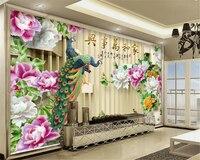 Beibehang livello carta da parati giada Peonia milioni e tutte le cose pavone 3D Cinese TV sfondo muro papel de parede behang