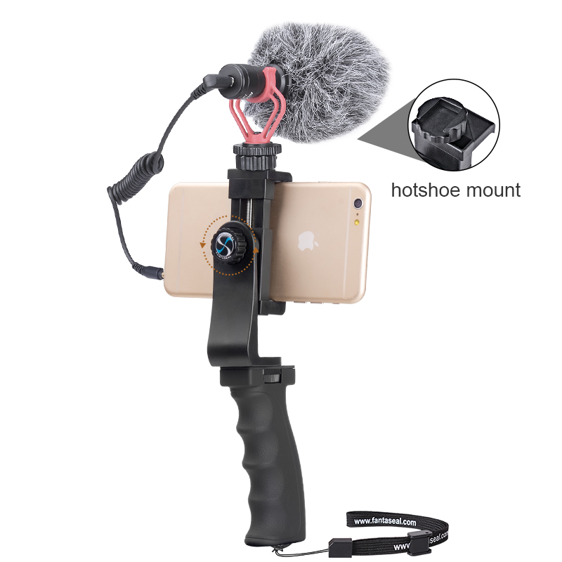 Cell Phone Hand Grip Holder Smartphone Stabilizer Microphone Video Filming Set for iPhone XR XS XSMAX