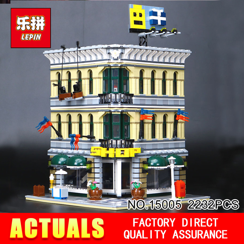 LEPIN 15005 2232Pcs City Creator Grand Emporium Model Building Blocks Bricks action Brick for Children Toy Compatible with 10211 lepin city creator 3 in 1 corner deli building blocks bricks kids classic model toys for children marvel compatible