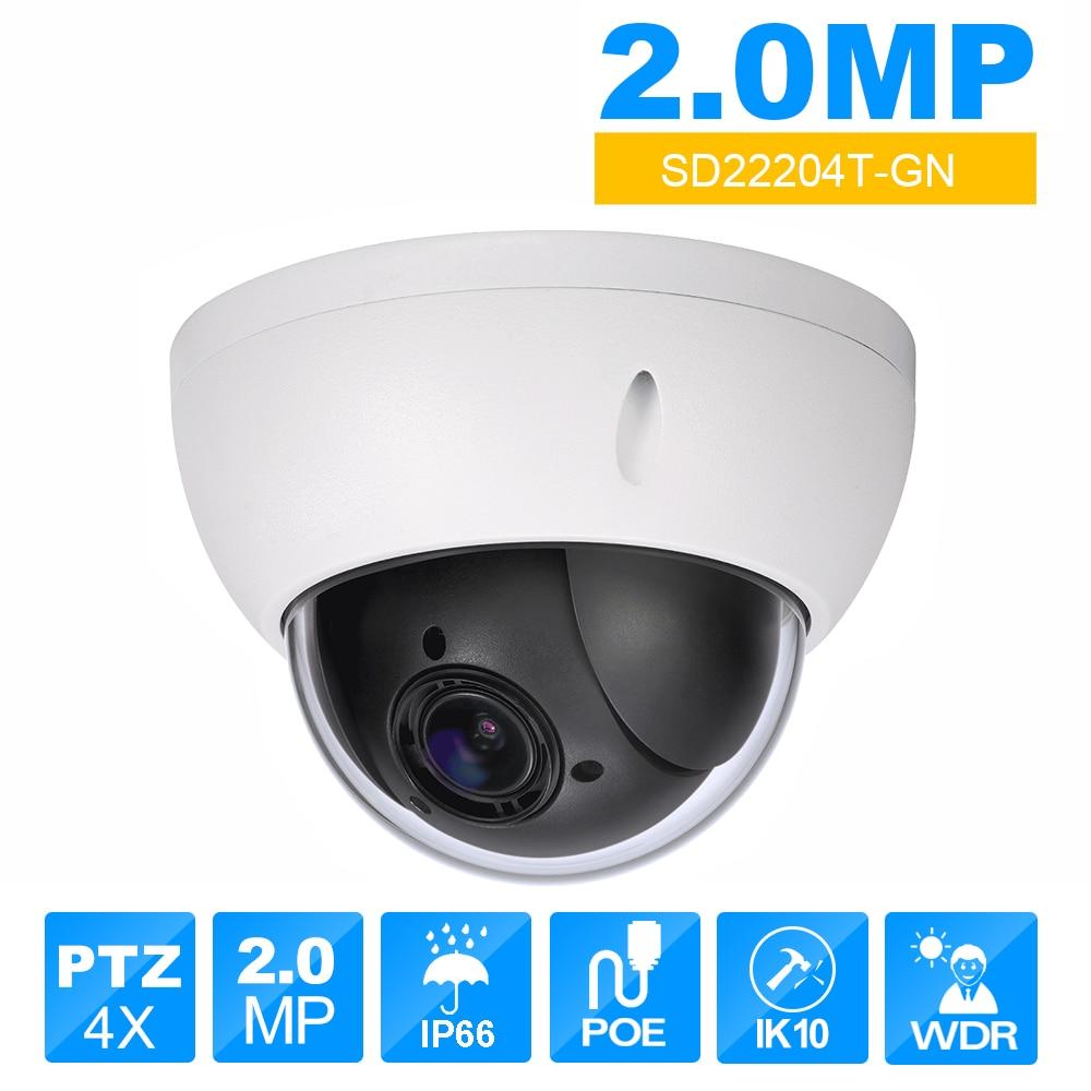 dahua PTZ DH-SD22204T-GN CCTV IP camera 2 Megapixel Full HD Network Mini PTZ Dome 4x optical zoom POE Camera SD22204T-GN hikvision ds 2de7230iw ae english version 2mp 1080p ip camera ptz camera 4 3mm 129mm 30x zoom support ezviz ip66 outdoor poe