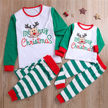 Striped Mother Daughter Christmas Pajamas Family Look Mommy and Me Sleepwear Clothes Christmas Family Matching Outfits C0461 цена в Москве и Питере