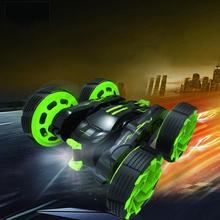 Mini RC Car 27MHz 4CH Stunt Car 360 Degree Flip LED Kids Robot RC Cars Toys