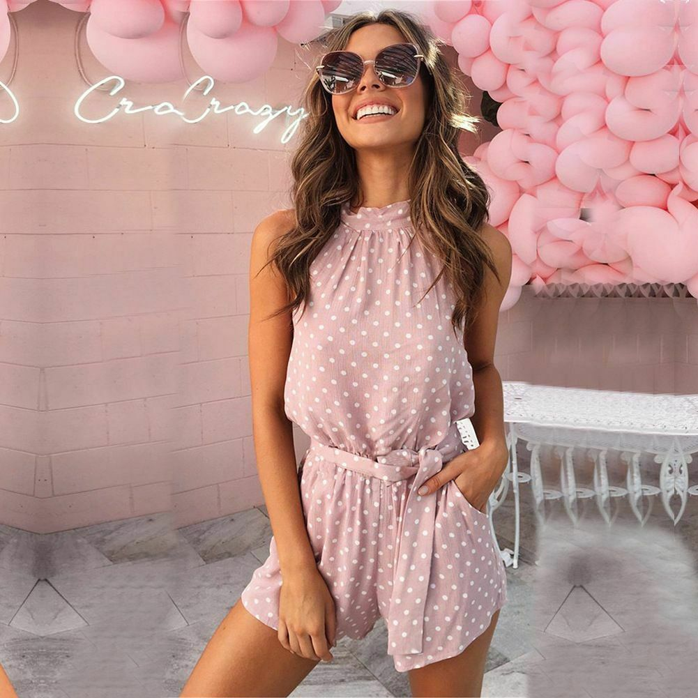 New Women Ladies Casual Summer Polka Pocket Belt   Jumpsuit   Female Fashion Playsuit Beach Backless Shorts Romper Women Clothes
