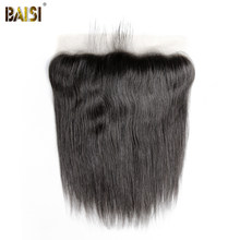 BAISI Peruvian Virgin Hair Transparent lace Frontal, Straight Frontal size 13*4, Plucked Natural Hairline(China)