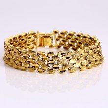 Очаровательный браслет желтое золото заполнены Твердые Женские