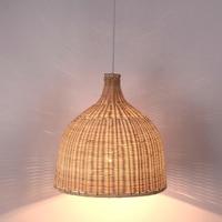 handmade wicker suspension lamp dinning room living room pendant light hotel hall restaurant hanging lighting