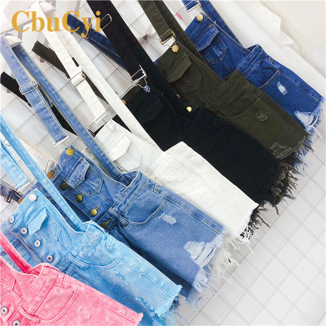 CbuCyi Fashion Denim Overalls for Women Jumpsuit Female Denim Rompers Womens Playsuit Salopette Straps Overalls Shorts Rompers 5