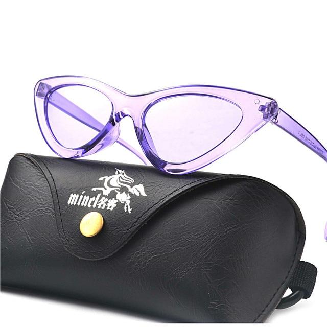 New Arrival Baratos Moda Lente Clara Óculos de Gatinho rosa roxo claro  Triângulo Gato Óculos De 7f43fb944a