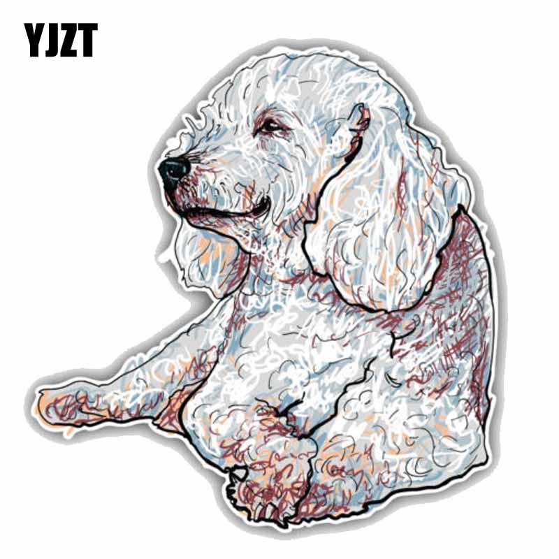 YJZT 15CMx15.6CM Happy Poodle Dog Sketch Car Styling High Quality PVC Car Decal Sticker C1-9061