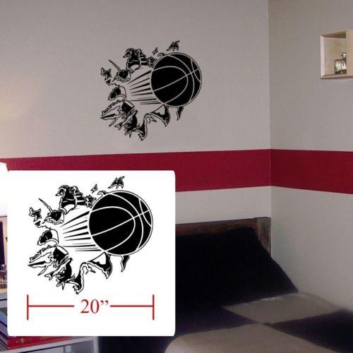 Basketball room boys girls room decal, Basketball crash fathead style  stickers 20x20inch