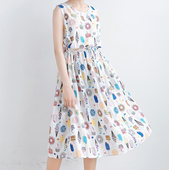 Childlike ice cream Retro candy print  o-neck sleeveless tank Pleated dress mori girl