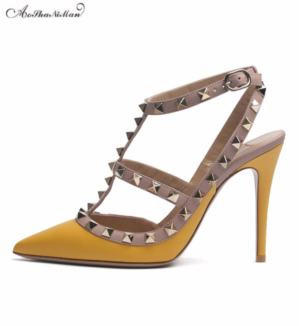 Spring summer Newest brand design high heels women thin heel Pointed toe Rivets pumps stilettos woman dress shoes pumps 34-42 sexy pointed toe high heels women pumps shoes new spring brand design ladies wedding shoes summer dress pumps size 35 42 302 1pa