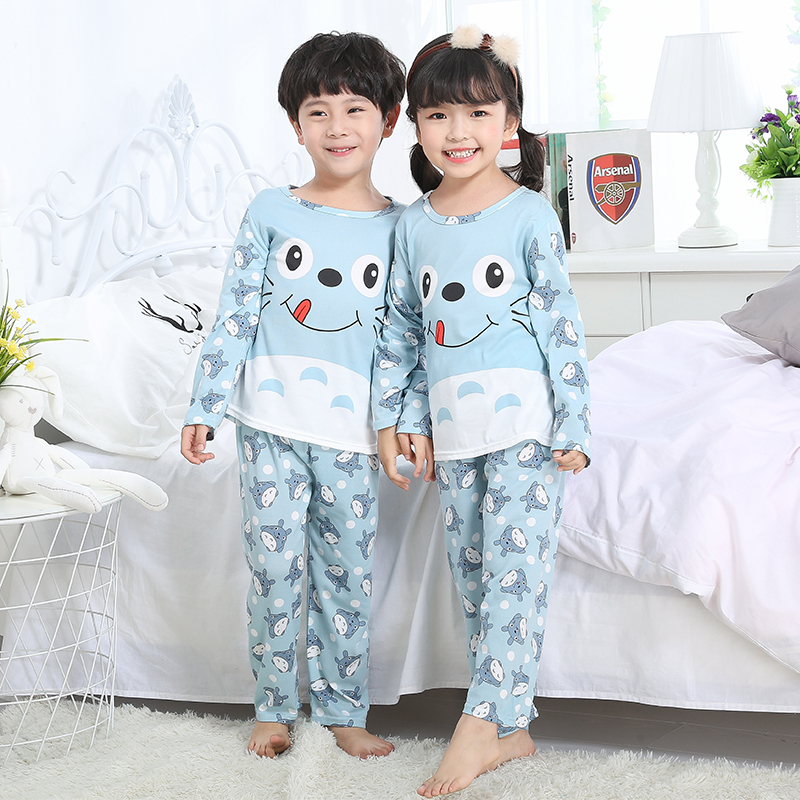 Pajamas sets Christmas gift Spring and autumn 2018 Boys Girls Kids Clothing Cartoon Suit Sleepwear Long Sleeve baby Pajamas Suit цена