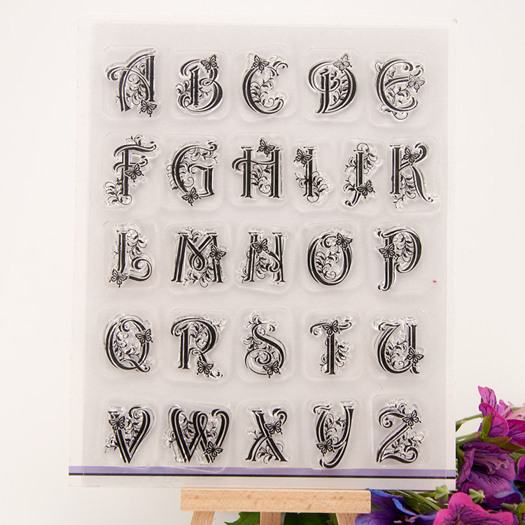 alphabet letters design silicon stamps scrapbooking stamp for kids diy paper card wedding gift christmas gift poto Album EE-032