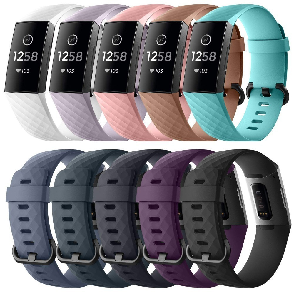 Duszake Wristband Wrist Bracelet Strap For Fitbit Charge 3 Band Silicone Replacement Bands For Fitbit Charge3 Band Accessories
