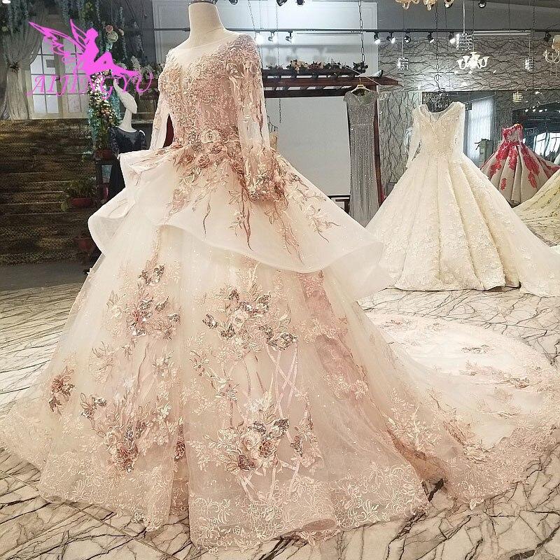 AIJINGYU Romantic Love Wedding Dresses Muslim Gowns Plus