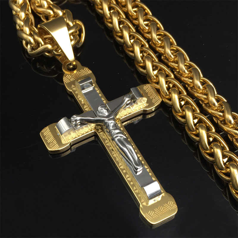 Witaya Crucifix Cross Necklace Gold/silver tone Stainless Steel Chain For Men Jewelry Jesus Piece