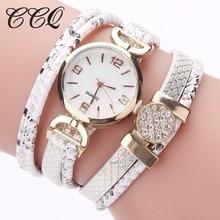 CCQ Бренд Новое поступление серпантин ремешок браслет Кварцевые часы Для женщин роскошь золота Стразы Подвеска наручные часы