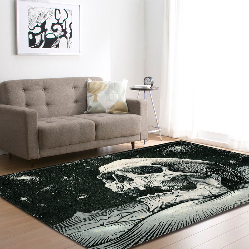 Nordic Halloween 3D Skull Area Rugs Party Decorative Kid Room Play Pad Baby Crawling Flannel Game Mats Carpet for Living Room