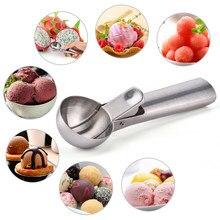 Copo de sorvete em aço inoxidável, geladeira, colher, metal, icecream, copo de biscoito, melão, frutas, sorvete, utensílios de cozinha
