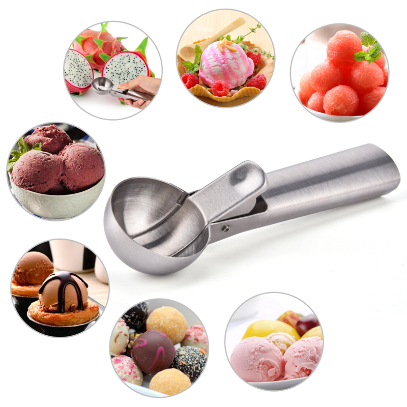 Kitchen Tools Stainless Steel Ice Cream Scoop Metal Cookie Scoop Spoon Melon Baller Fruit Ice Ball Maker Scooper For Ice Cream image