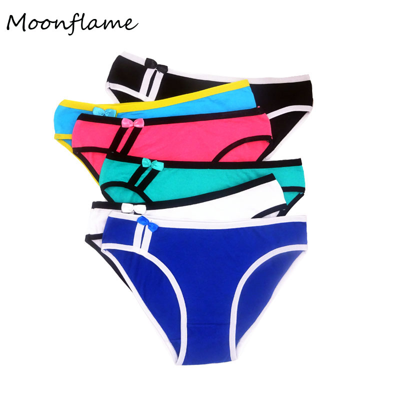 Moonflame 5 Pcs/lots Intimates 2019 Hot Sale High Quality Underwear Cotton Briefs   Panties   For Ladies Sexy Women's Briefs M6789
