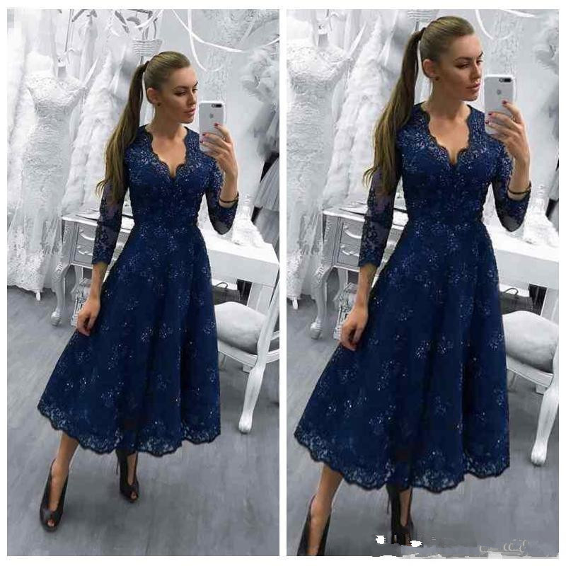 Navy Blue Mother Of The Bride Dresses V Neck Long Sleeves Lace Appliques Beaded Wedding Guest Dress Tea Length Evening Gowns