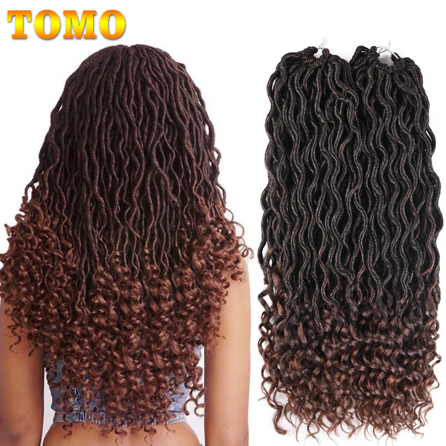 TOMO Bohemian Faux Locs Curly Crochet Braid 18inch 24 Strands Ombre Braiding Extensions Synthetic Crochet Hair for Black Women