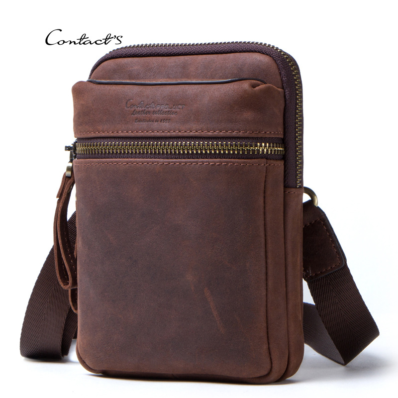 Male Waist Bag Genuine Leather Crossbody Shoulder Small Bag Two Using Phone Pack Man Travel Message Bag Blosa Mochila Gifts