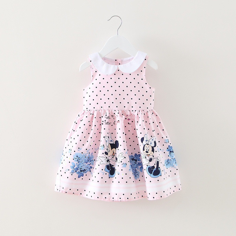 2017 Girl Pink Birthday Dress Gift Vestidos Children Dress Princess Party Dresses Polka Dot Summer Baby Girls Minnie Kid Clothes ladybird appliques dress wholesale clothing for girls princess baby boutique o neck clothes children polka dot dresses 6pcs lot