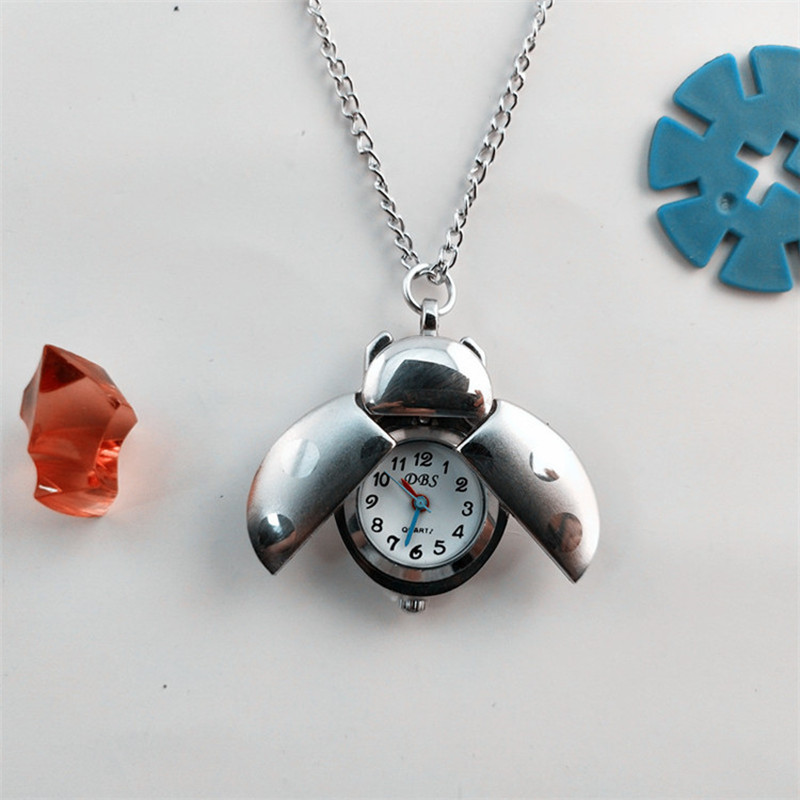 Wholesale Children Watch Ladybug Beetle Necklace Table Fashion Kids Jewelry Gift Quartz Watches Men Pocket Watch Girl Boy Clock
