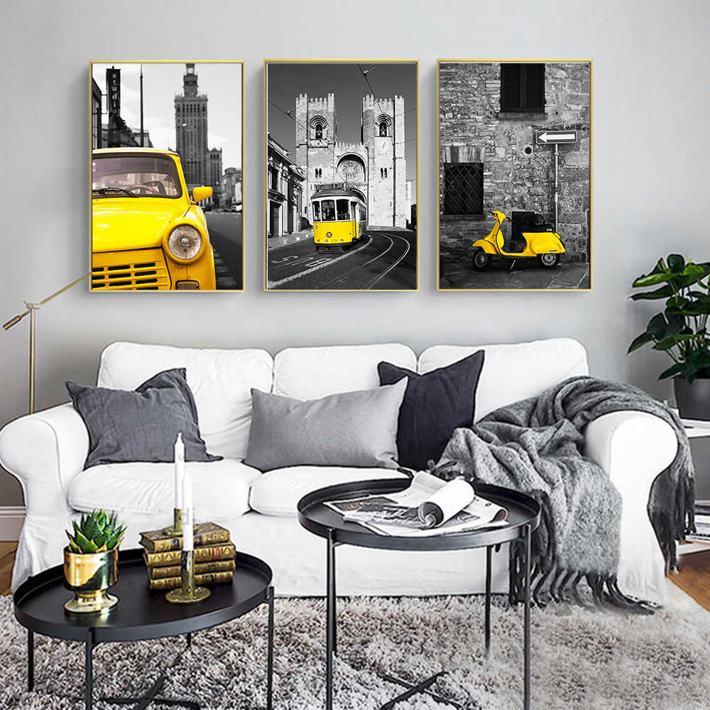 Vintage Kids Bedroom Decor Paintings Yellow Car Building Landscape Canvas Art Wall Picture For Living Room Posters And Prints
