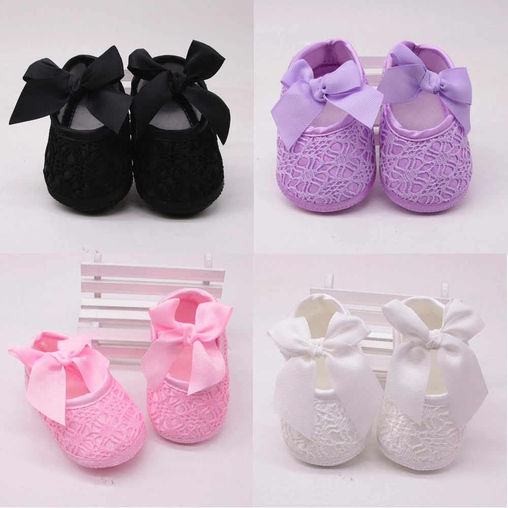 Newborn Baby Girls Soft Shoes Soft Soled Non-slip Bowknot Footwear Crib Shoes 5.19frn