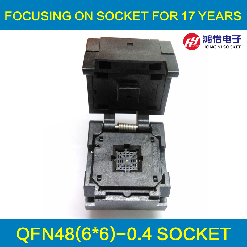 QFN48 MLF48 IC Test Socket Pitch 0.4mm IC549-0484-010-G Burn in Socket Clamshell Chip Size 6*6 Flash Adapter Programming Socket qfn48 burn in socket qfn48 mlf48 ic test socket pitch 0 5mm clamshell chip size 7 7 flash adapter programming socket