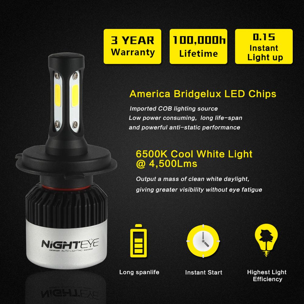 Image 2 - NIGHTEYE Super Bright Car Headlights H7 LED H4 led H8/H9/H11 HB3/9005 HB4/9006 Auto Bulb 72W 9000LM Automobiles Headlamp 6500K-in Car Headlight Bulbs(LED) from Automobiles & Motorcycles