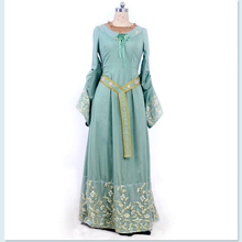 Romantic Classic Dresses Women Victoria Style Flare Sleeves Light Green Long Dress Cospaly Costumes