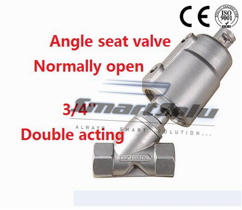 Free shipping pneumatic angle valve seat actuator double steam stainless steel DN20 3/4 inch normally open for air