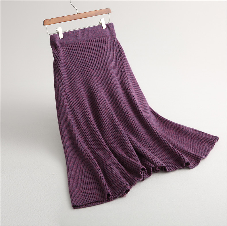 dark Green Skirt dark line Sauce Tunic Waist 2018 khaki Winter Skirts Knitted Elastic A European High Bai Pleated Gray Women Womens purple Fashion orange Bei 0AxqgpxB