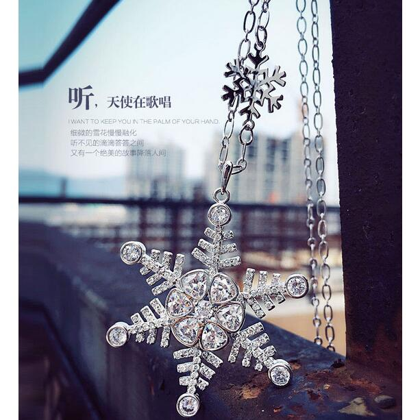 New Trendy White Gold Color Top Quality Cubic Zirconia Snowflake Design Long Maxi Pendant Necklace For Women