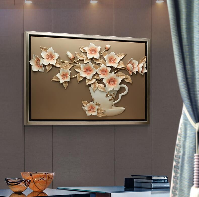 Moderne résine fleur peinture tenture murale artisanat décoration murale pendentif salon fond 3D Sticker Mural ornements muraux - 2