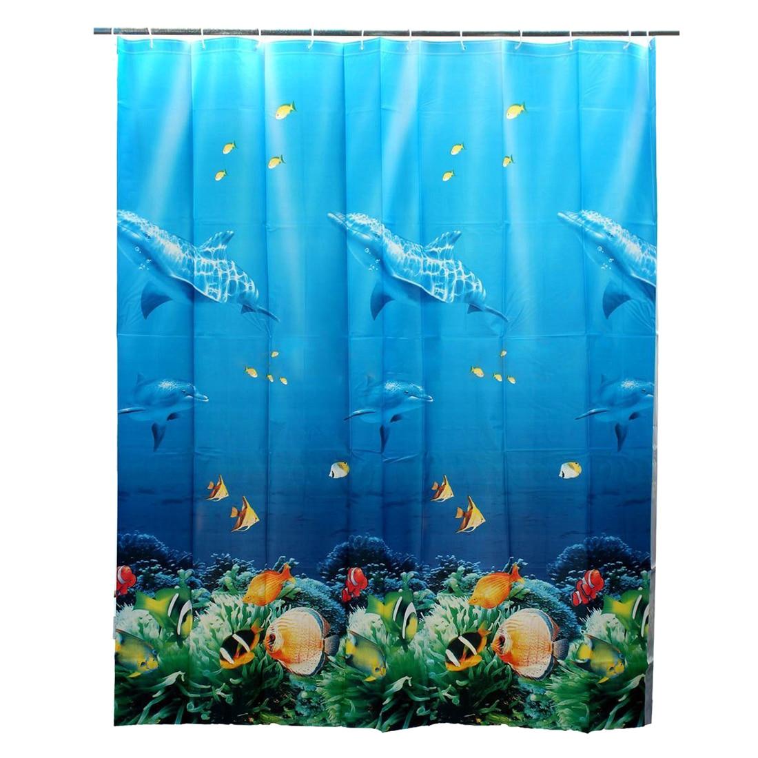 Ocean shower curtains - Practical 180x180cm Tropical Beach Sea Dolphin Fish Ocean Color Shower Curtain With Hooks